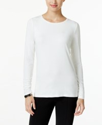 Alfani Long Sleeve Ruched Top Only At Macy's Soft White