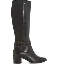 Dune Vivv Stretch Panel Knee High Leather Boots Black Leather