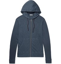 James Perse Loopback Supima Cotton Jersey Zip Up Hoodie Blue