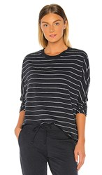Frank And Eileen Tee Lab Royal French Terry Long Sleeve In Navy. Navy Melange And White Stripe