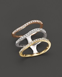 Bloomingdale's Diamond Triple Row Ring In 14K Yellow White And Rose Gold .50 Ct. T.W.