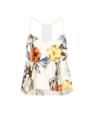 Tibi Tattoo Print Silk Gazar Top