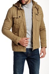 American Stitch Mock Neck Jacket With Attached Hood Brown