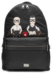Dolce And Gabbana Fabric Backpack With Leather Black