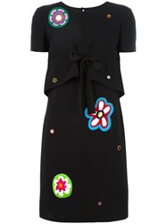 Moschino Bead Embroidered Tie Front Dress Black