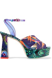 Sophia Webster Effie Printed Leather And Vinyl Platform Sandals Navy