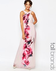Little Mistress Tall Little Misstress Tall Cross Front Maxi Dress With Floral Placement Print And Belt Detail Multi