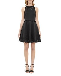 Ted Baker Ruffle Trimmed Skater Dress Black