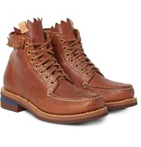 Visvim Fringed Leather Boots Tan