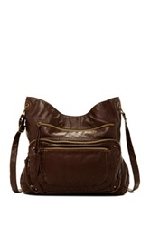 T Shirt And Jeans Washed Crossbody With Front Pocket Brown