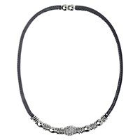Adele Marie Bead Leather Necklace Taupe Silver
