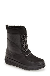 Women's Fitflop 'Sporty' Lace Up Mukluk With Genuine Shearling Lining Black Leather