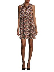 Molly Bracken Heart Print Shift Dress Black Multi