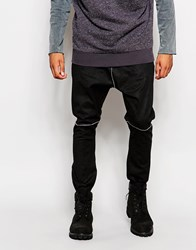 Asos Drop Crotch Joggers In Faux Leather With Cracked Detail Black