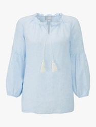 Pure Collection Tie Neck Stripe Blouse Pale Blue