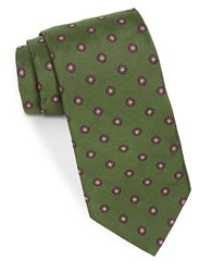 Brooks Brothers Silk Floral Embroidered Tie Green