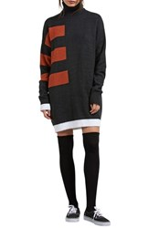 Volcom Cold Stripe Turtleneck Sweater Dress Black