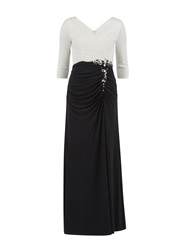 Gina Bacconi Long Jersey Dress With Contrast Ruching Black