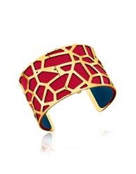 Les Georgettes Girafe Gold Plated Bracelet W Red And Petrol Blue Reversible Leather Strap