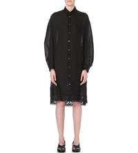 Junya Watanabe Embroidered Linen Shirt Dress Black