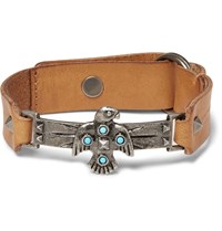 Valentino Leather And Silver Tone Bracelet Brown