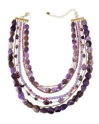 Lydell Nyc Semi Layered Beaded Necklace Purple