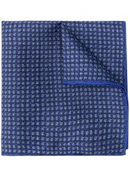 Canali Checked Pocket Square Scarf Blue