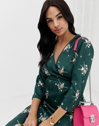 Ted Baker Aleexx Wrap Top In Flourish Print Green