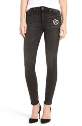True Religion Women's Halle Mid Rise Super Skinny Patched Jeans