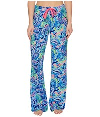 Lilly Pulitzer Knit Pajama Pants Multi Ocean Commotion Blue