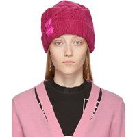 Off White Pink Knit Pop Color Beanie