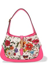 Gucci Jackie Hobo Medium Floral Print Canvas And Textured Leather Shoulder Bag Pink