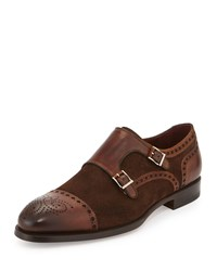 Magnanni Suede And Leather Double Monk Loafer Medium Brown