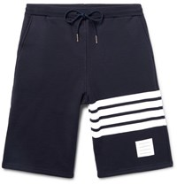 Thom Browne Striped Loopback Cotton Jersey Shorts Navy
