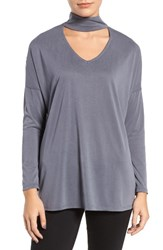 Trouve Women's Keyhole V Neck Top Grey Pavement