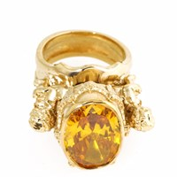 Metal Couture Citrine Divine Cherub And Urn Ring Gold