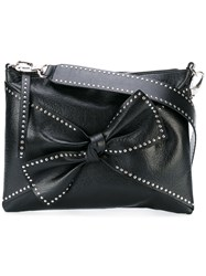 Red Valentino Studded Bow Shoulder Bag Women Sheep Skin Shearling Metal One Size Black
