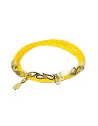 Sho London Mari Fiendship Silver Vermail And Leather Double Bracelet Yellow