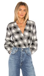 Amanda Uprichard Crossover Bodysuit In White. Portland Plaid