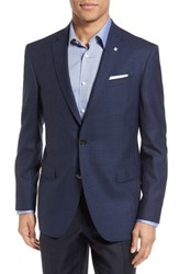 Ted Baker Men's London Jay Trim Fit Check Wool Sport Coat Navy
