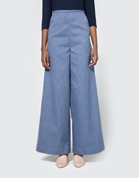 Toit Volant Tita Sailor Cut Wide Leg Pants Blue Stripe