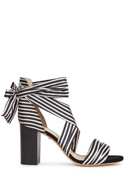 Raye Maggie Striped Lace Up Satin Sandals Black And White