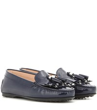 Tod's Frangia Patent Leather Loafers Blue