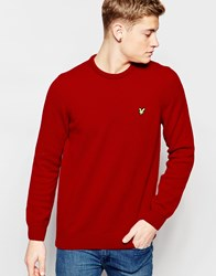 Lyle And Scott Jumper In Lambswool Crew Neck Red