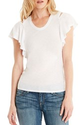 Michael Stars Women's Cutout Shoulder U Neck Tee White