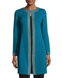 St. John Santana Knit Golden Studded Long Jacket Blue Gold