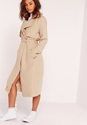 Missguided Soft Touch Belted Trench Coat Nude Grey