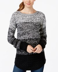 It's Our Time Juniors' Ombre Mixed Knit Tunic Sweater Black Spiritual Vanilla