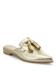 Stuart Weitzman Slidealong Tasseled Metallic Leather Mules Gold