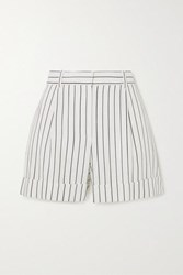 Bella Freud Charlie Pinstriped Woven Shorts White